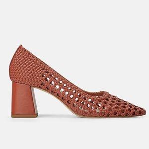 Zara Woven Braided Block Heel Pointed Toe Pump 37